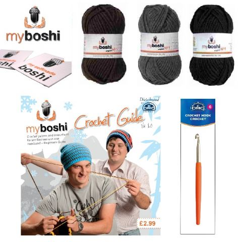 Black - Make Your Own Crochet Myboshi Beanies Hat Kit (Colours 196 196 174)